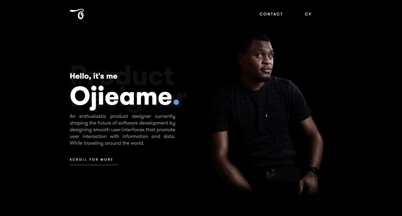 screenshot of Ojieame's personal website