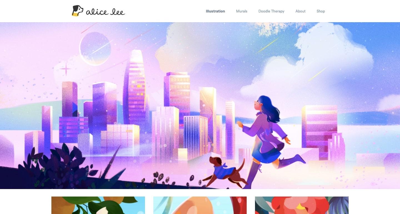 screenshot of alice lee's portfolio