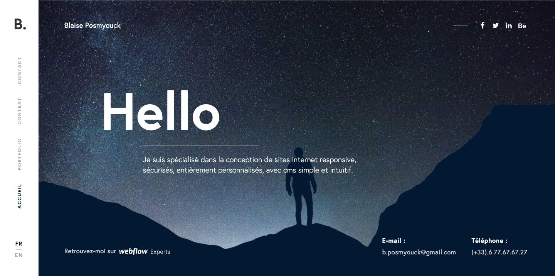 screenshot of Blaise Posmyouck's website