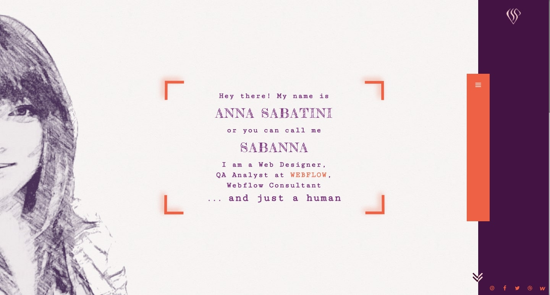screenshot of Anna Sabatini's personal website