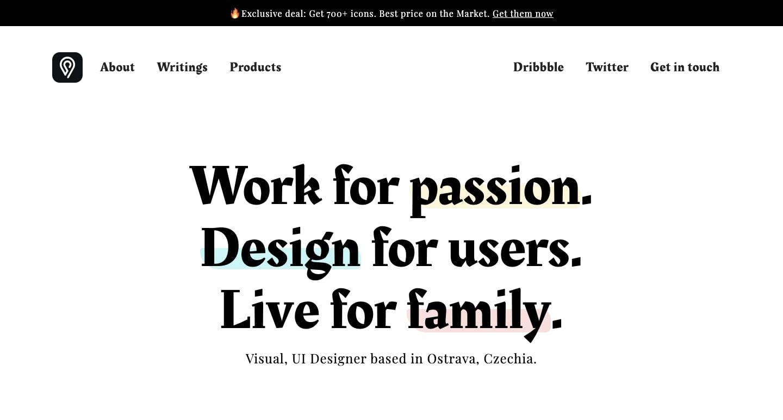 screenshot of Petr Bilek's personal website