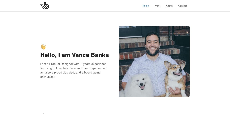 screenshot of Vance Banks' personal website