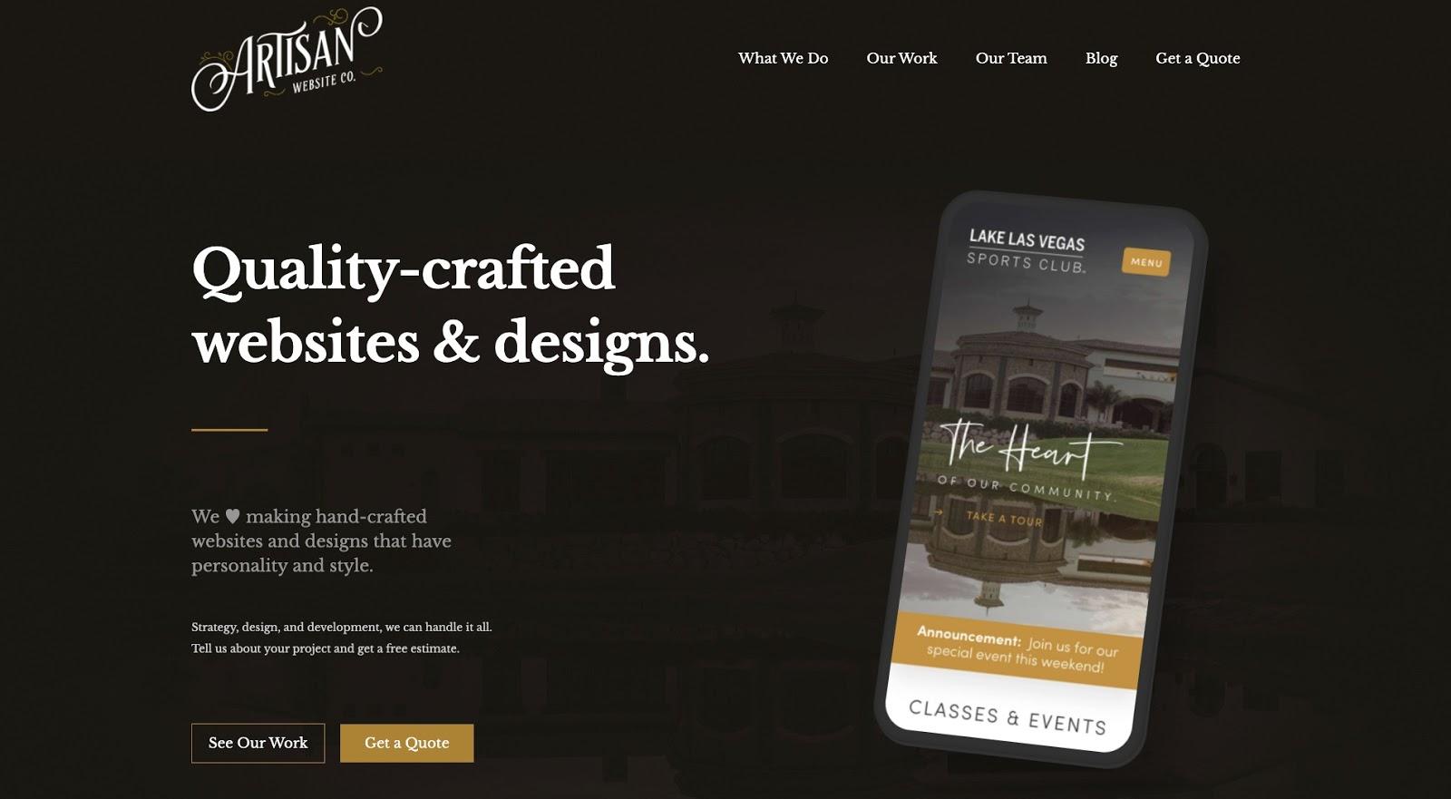 screenshot of artisan website company's website