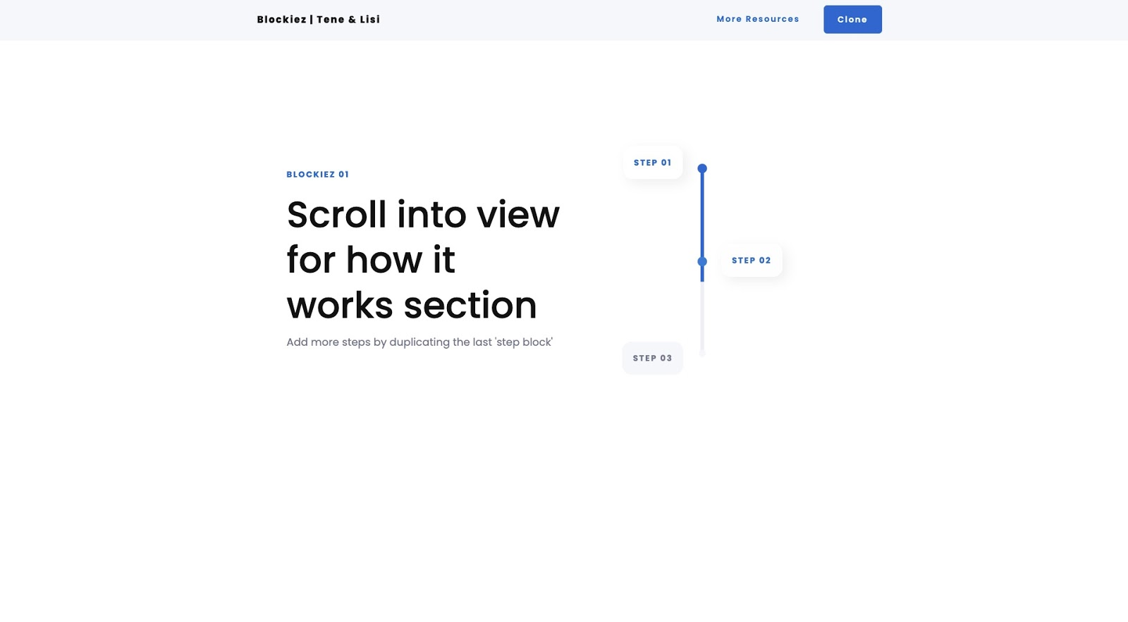 screenshot of scroll into view webflow project