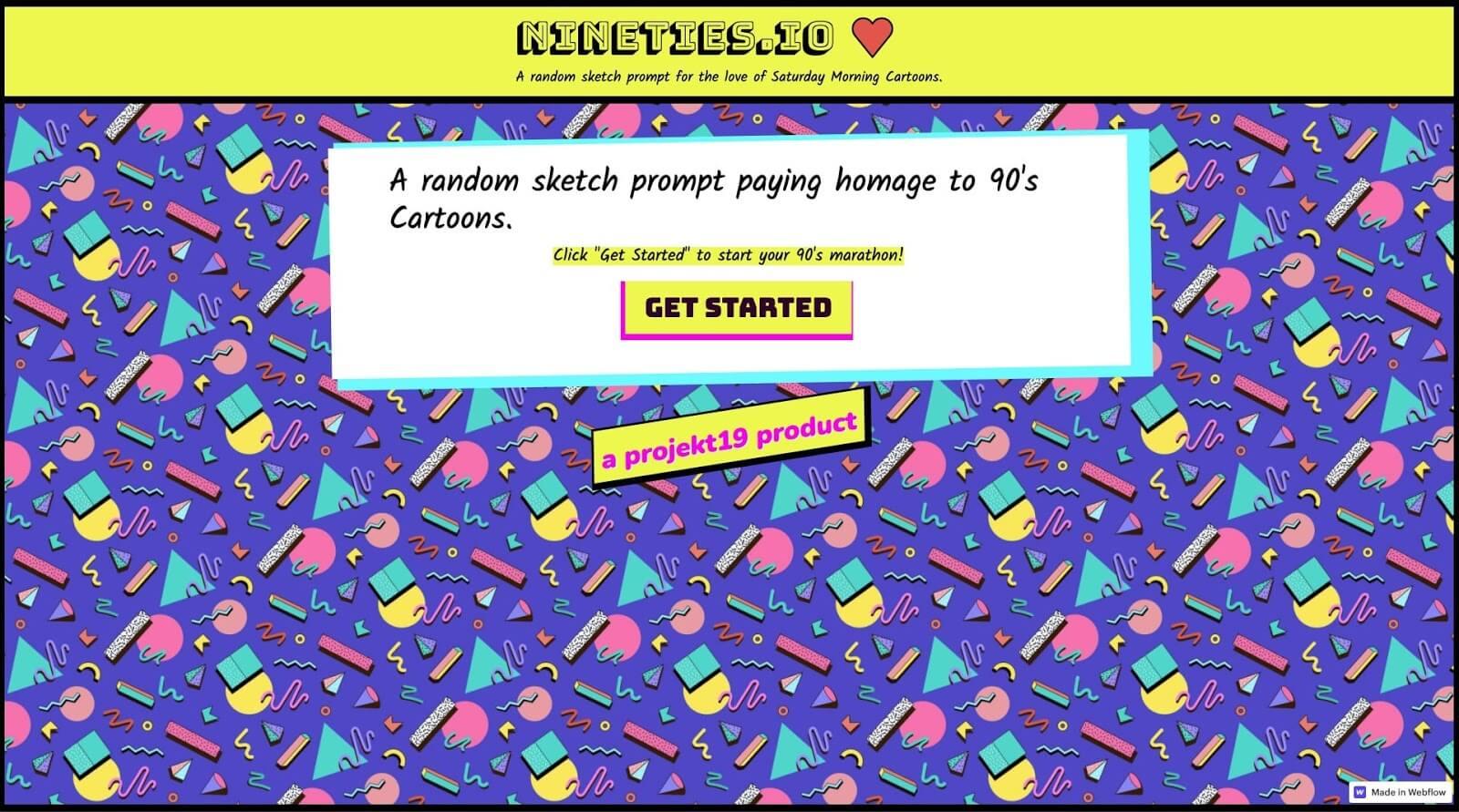 Screenshot of nineties.io website