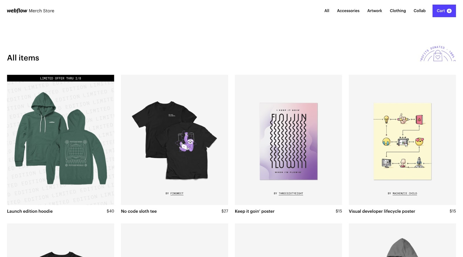 screenshot of the webflow merch store