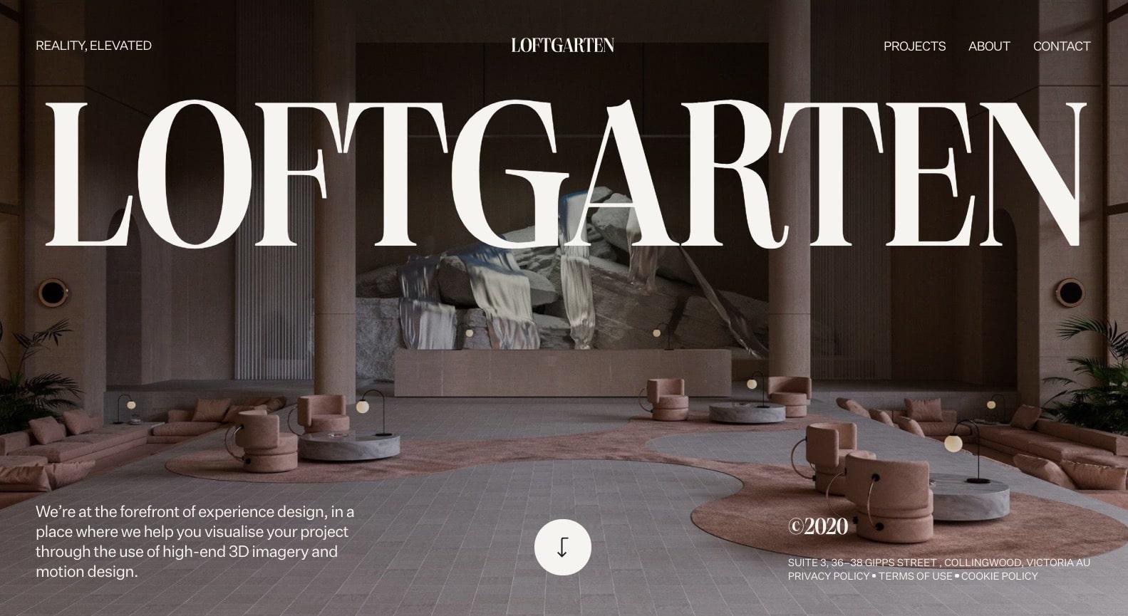 screenshot of loftgarten's homepage
