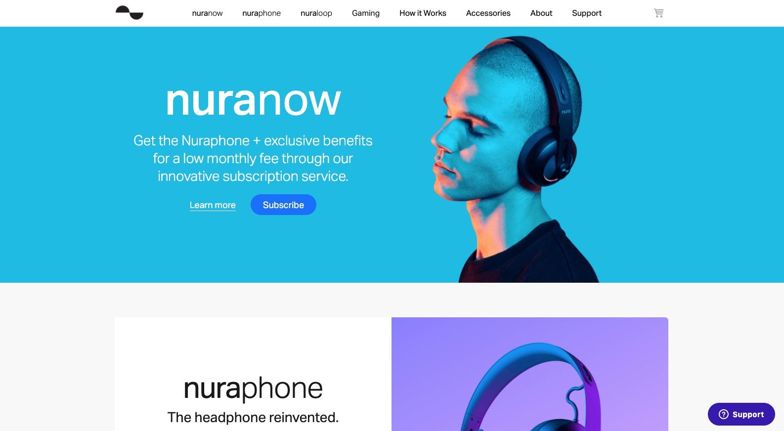 screenshot of nuraphone's ecommerce website