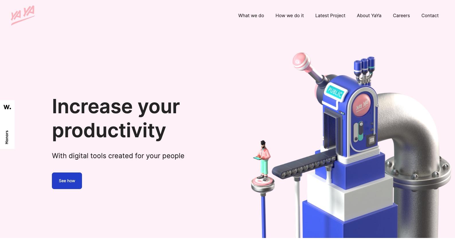 screenshot of YaYa's website