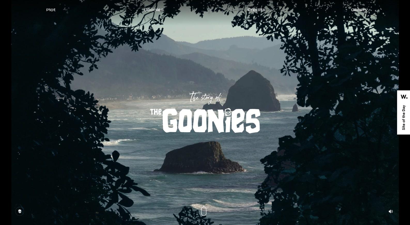 screenshot of The Goonies website