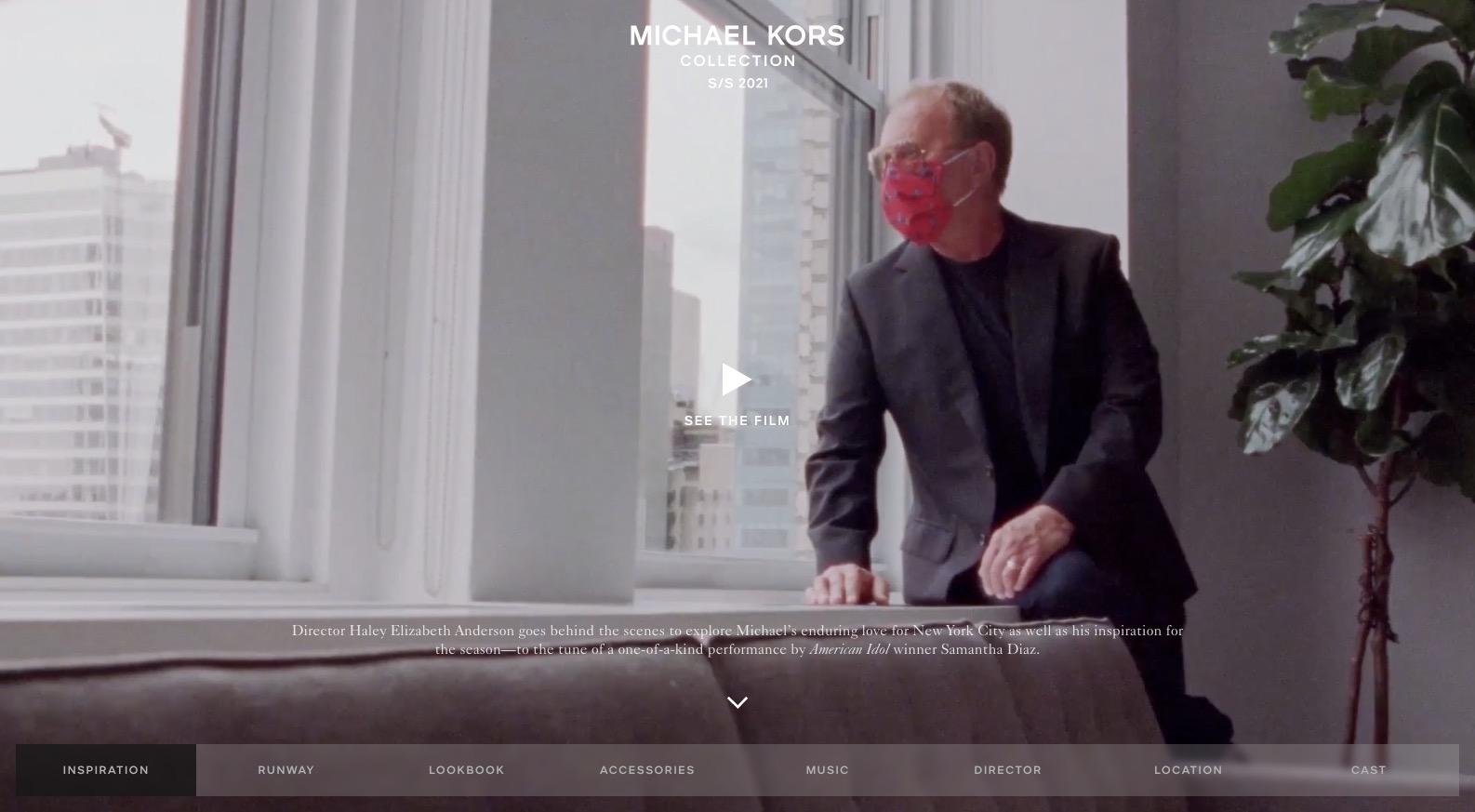 screenshot of michael kors' collection page
