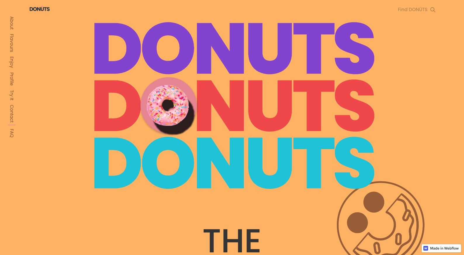 screenshot of Donuts website
