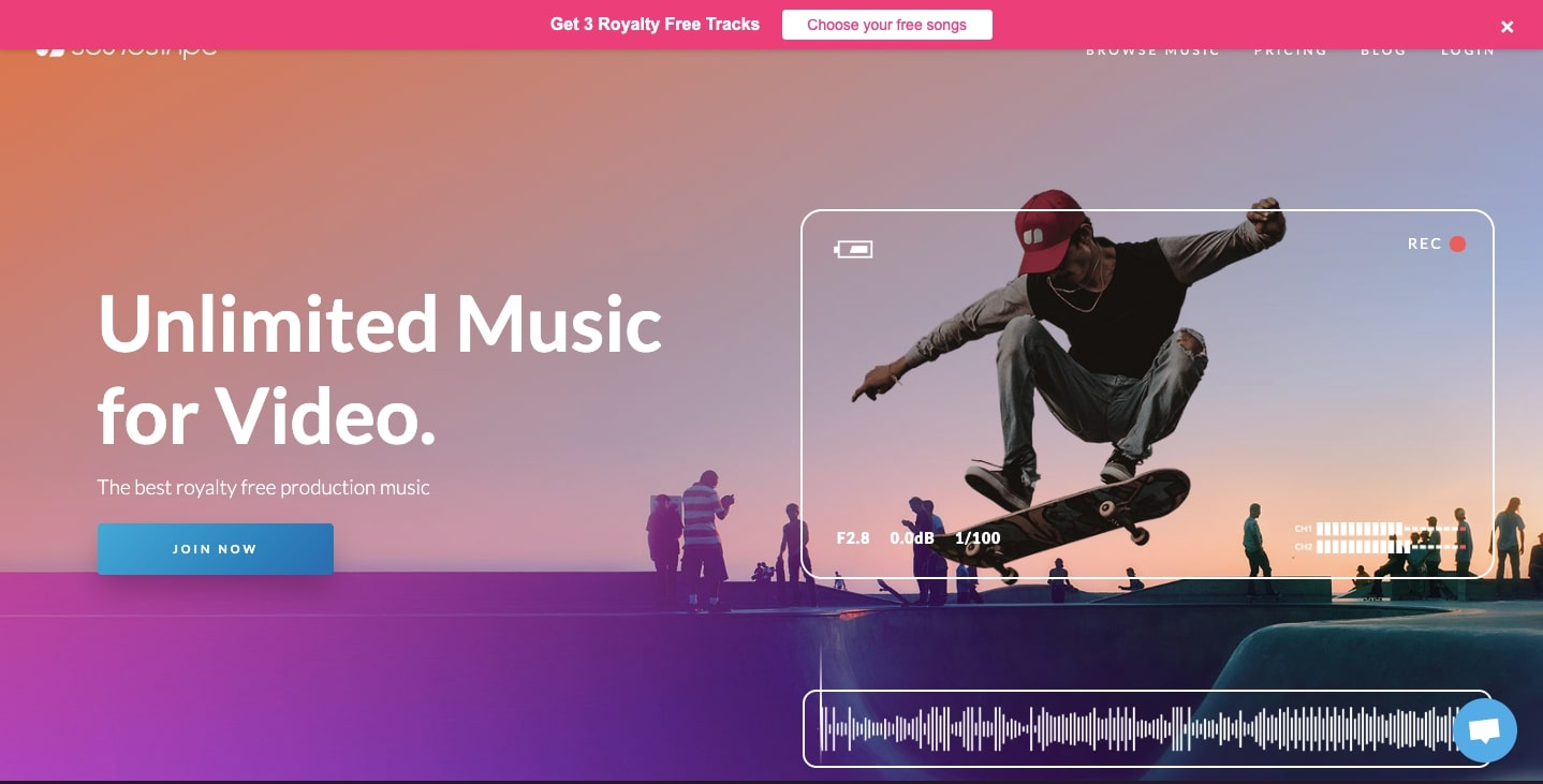 Soundstripe homepage