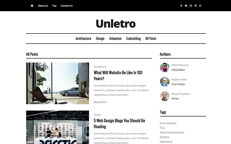 Unletro Webflow template