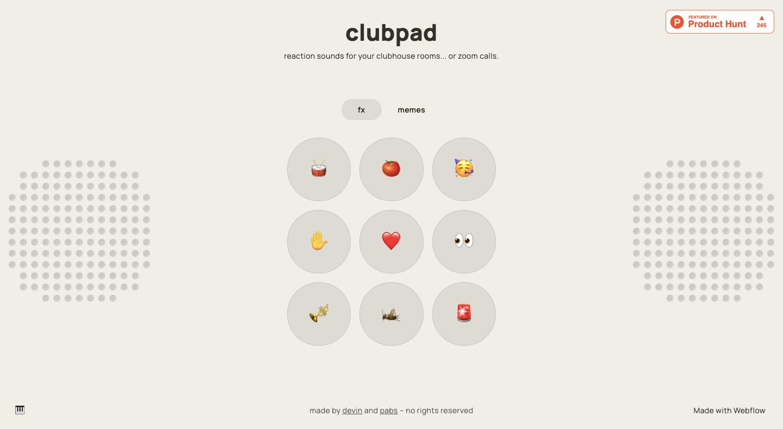 clubpad webflow webste