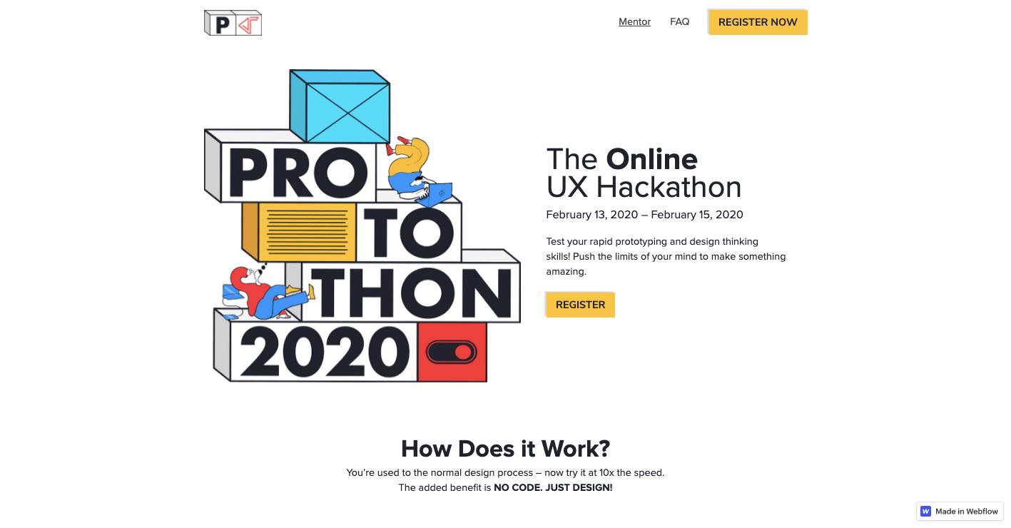 protothon webflow website