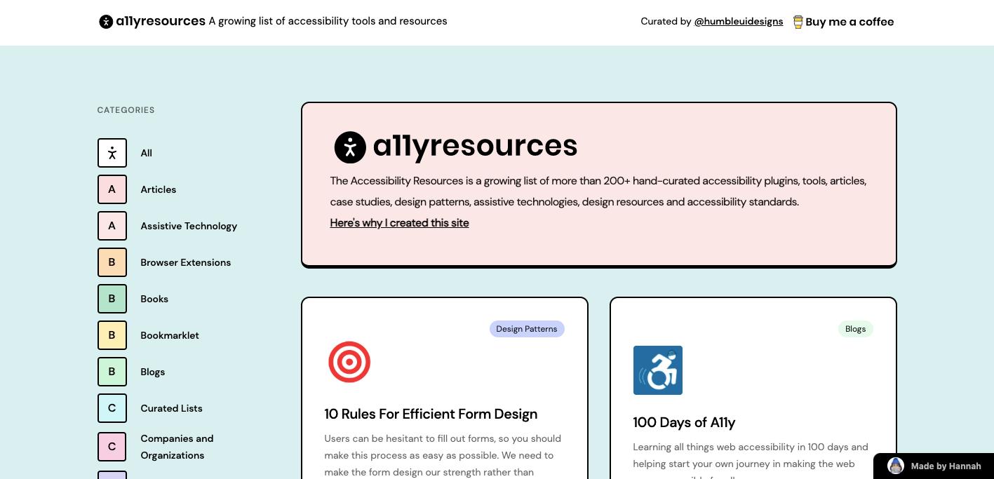 a11yresources website