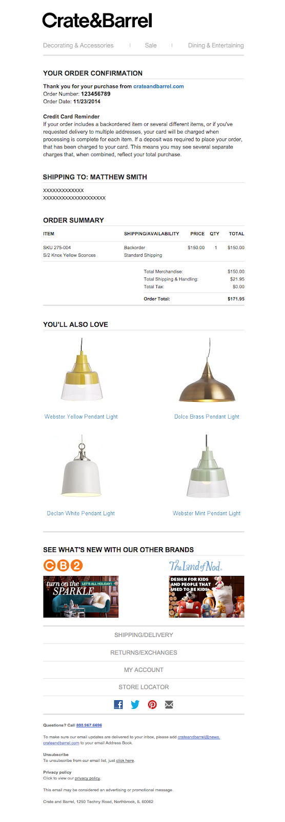 Crate and Barrel order confirmation email with personalized suggestions.