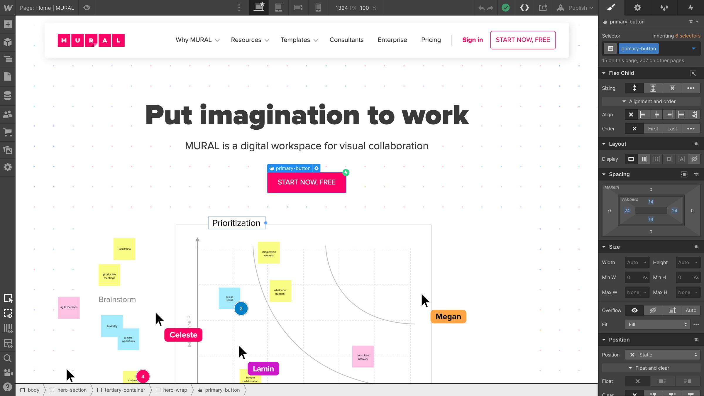 Mural's homepage in the Webflow Designer.