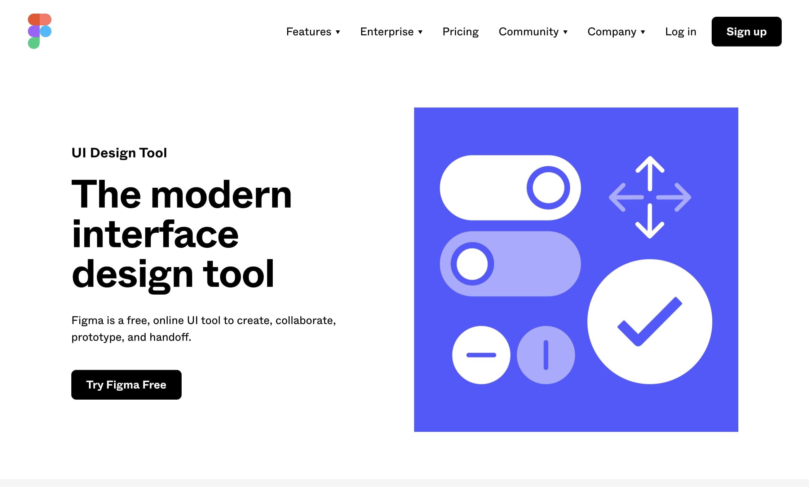 Figma's design tool landing page
