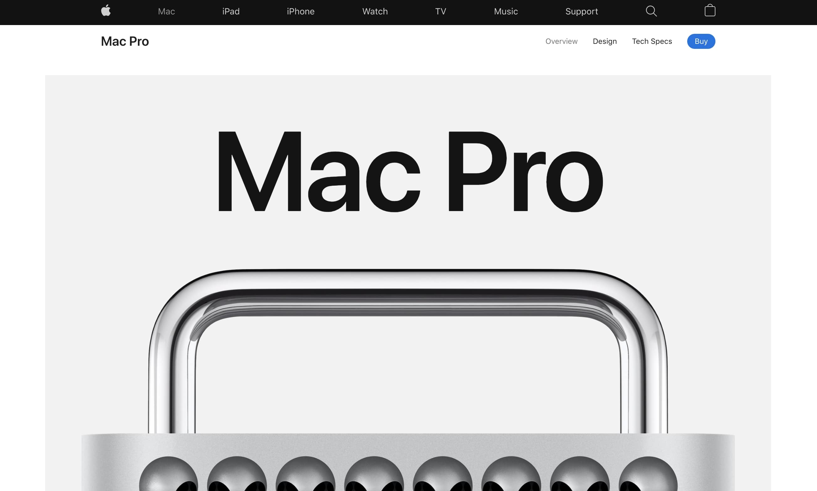 Apple's Mac Pro landing page