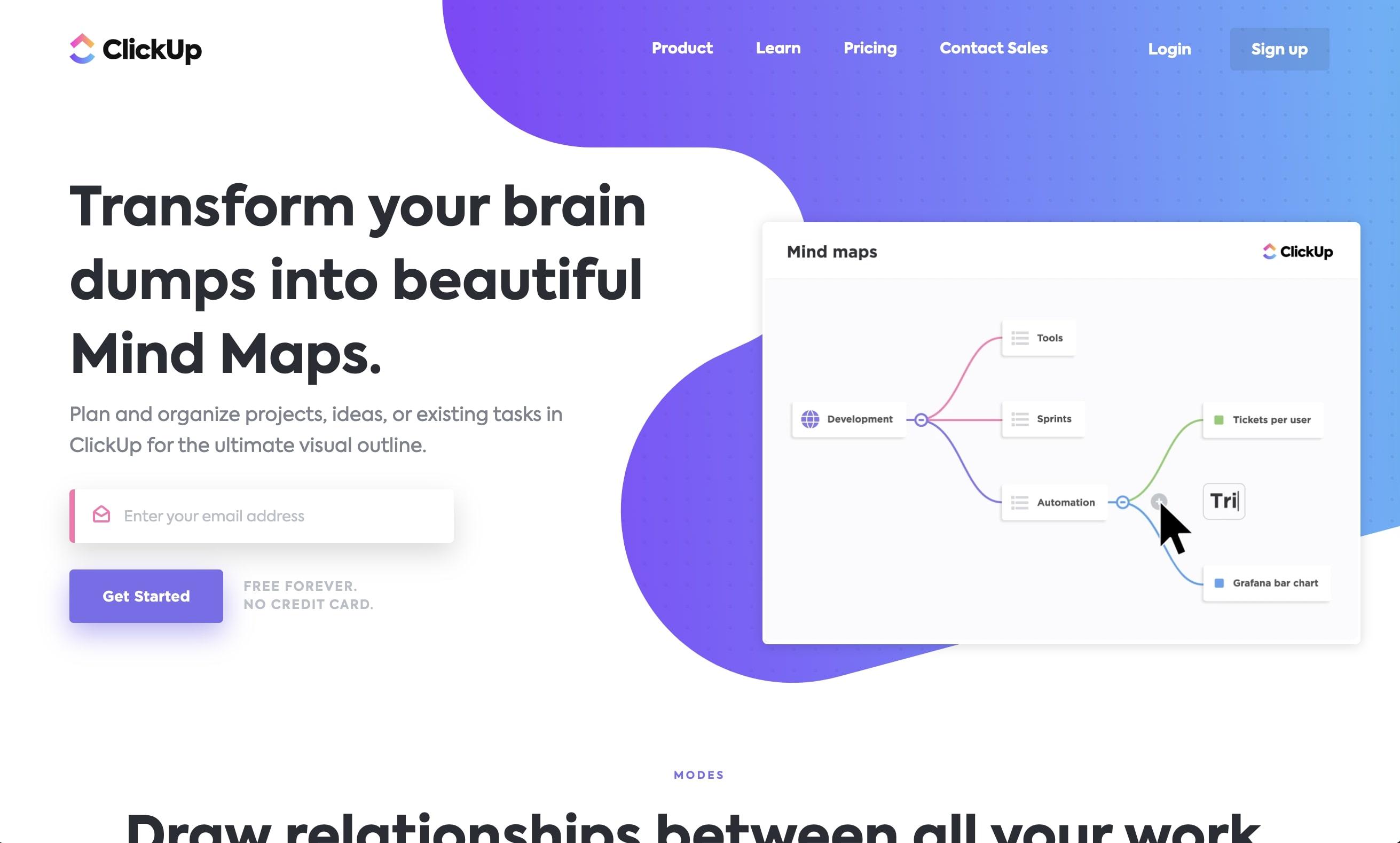 clickup mind maps landing page