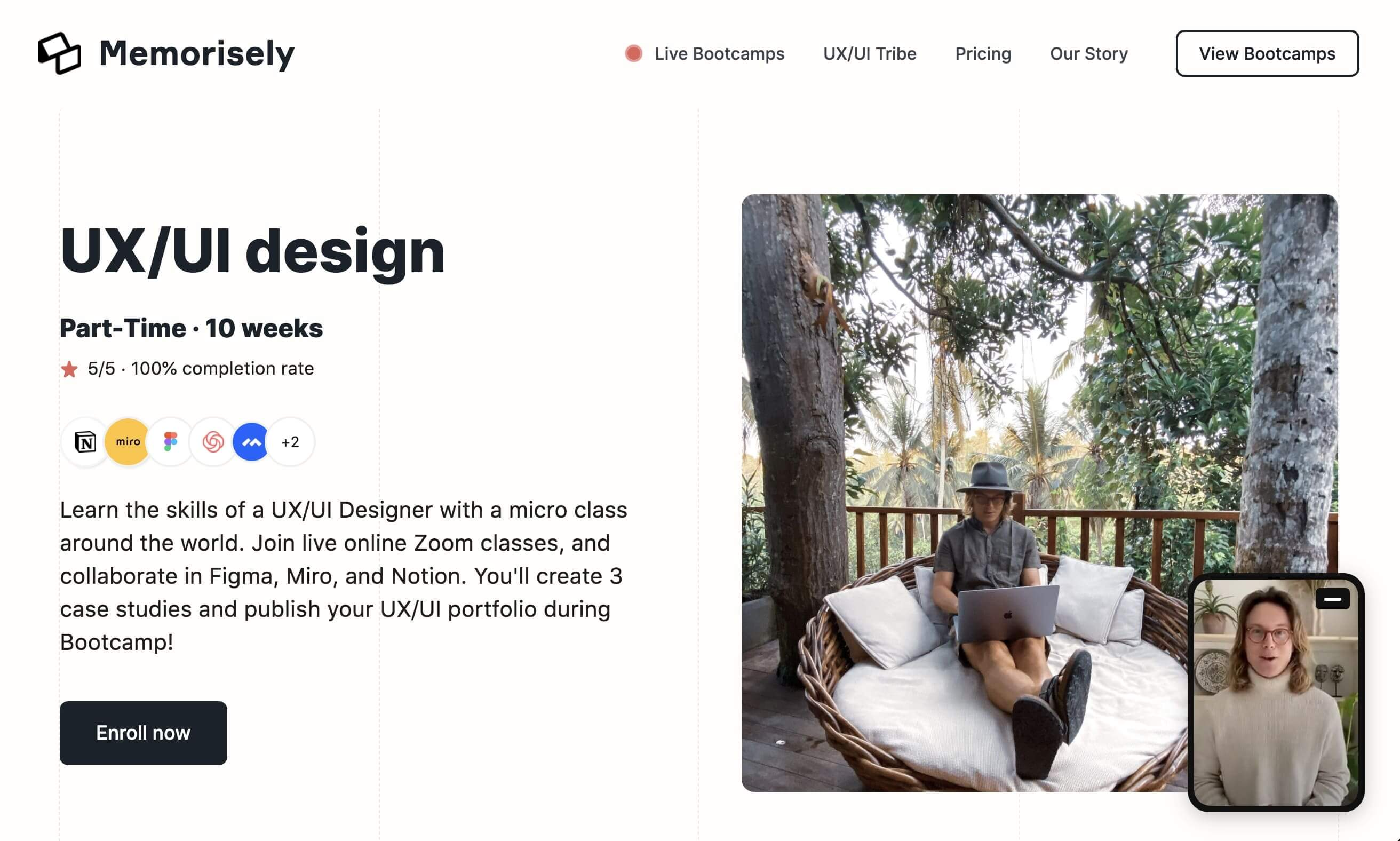 Memorisely's ui/ux bootcamp sign up page