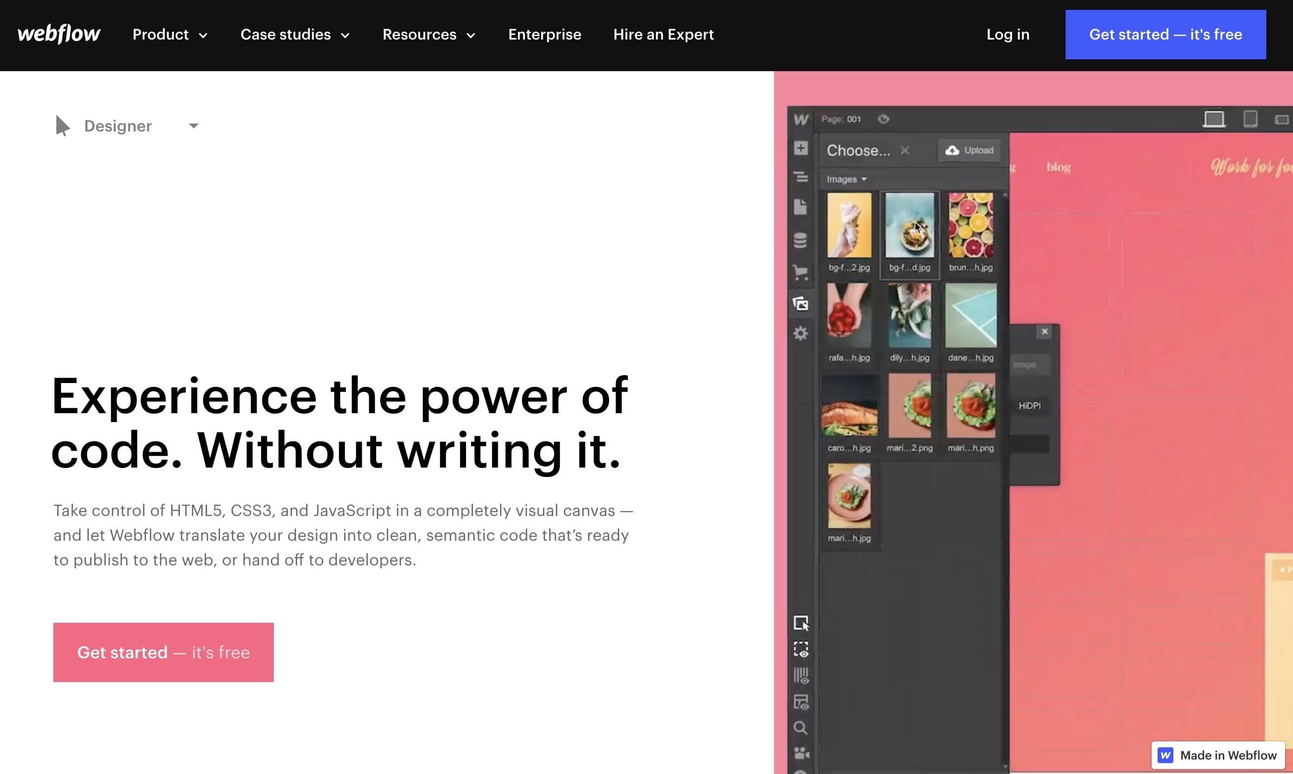 Webflow Designer product page