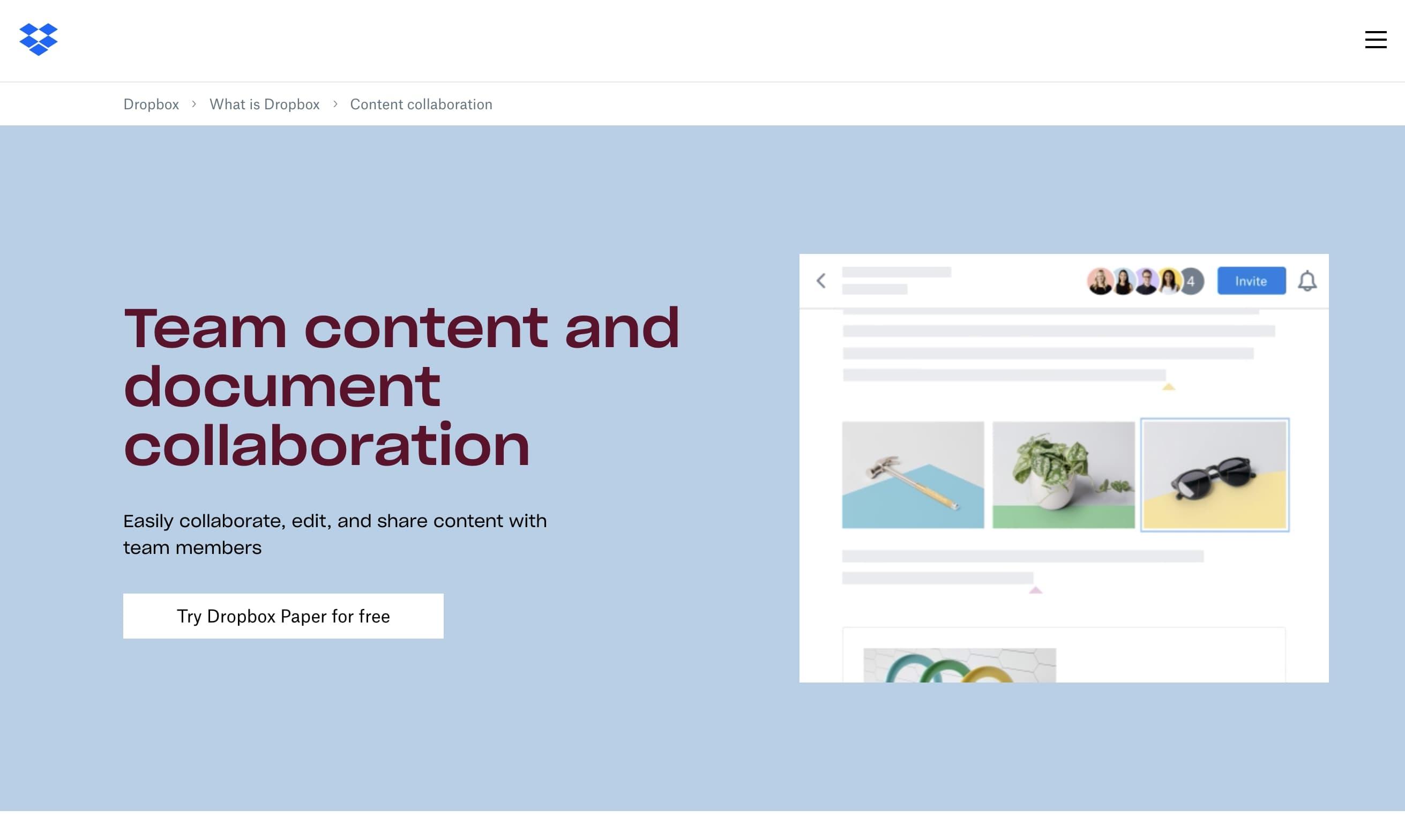 dropbox content collaboration landing page