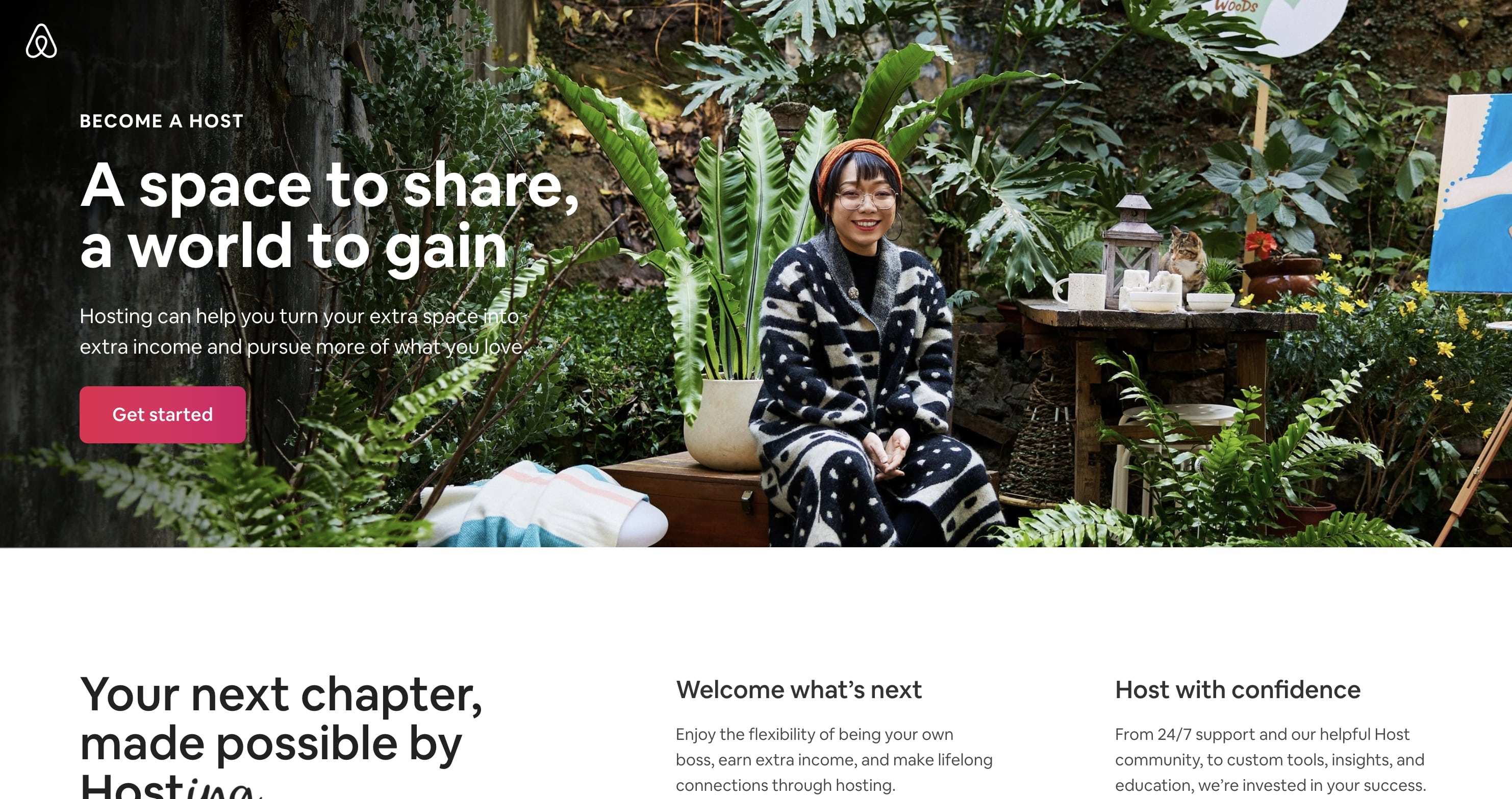 airbnb become a host page