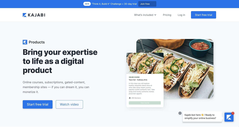 kajabi digital products use case page
