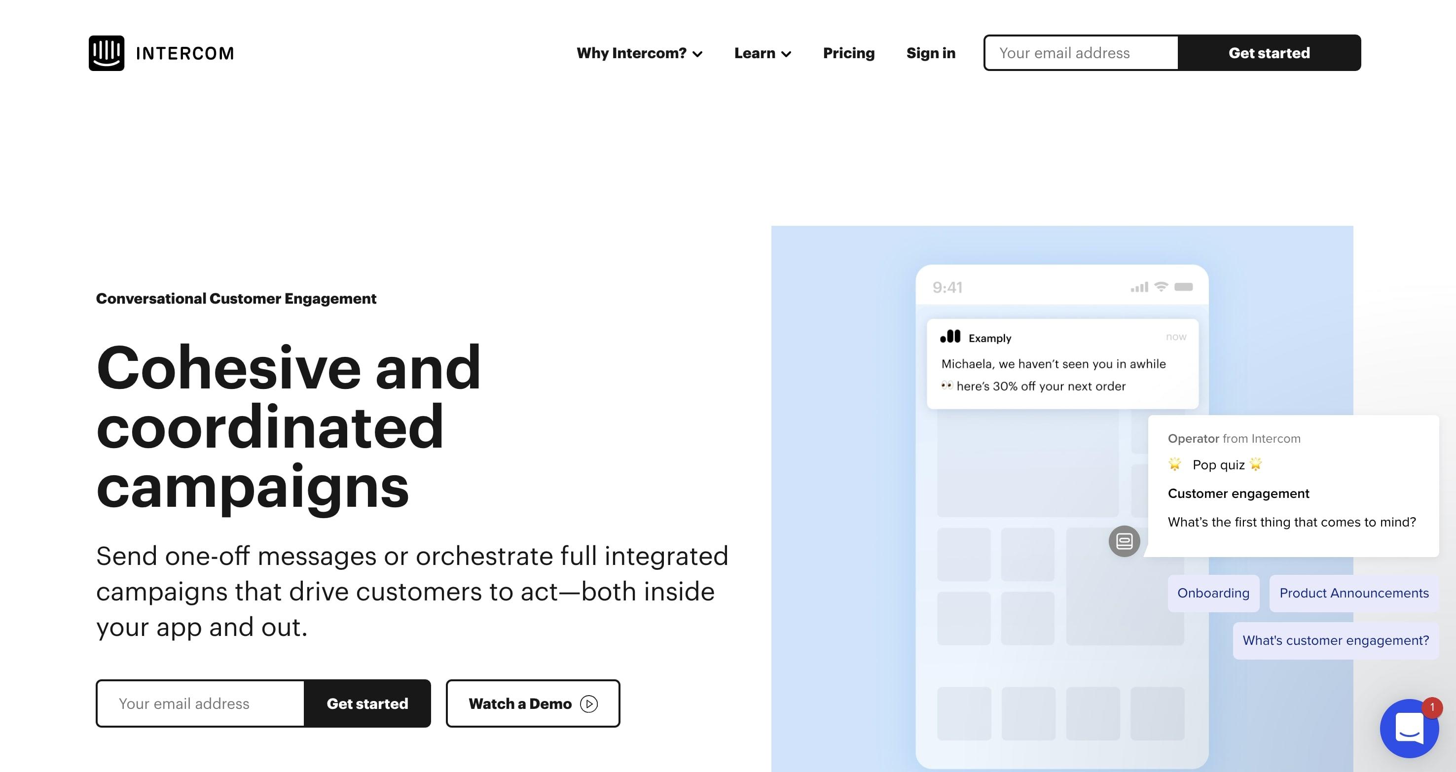 Intercom Customer Engagement page