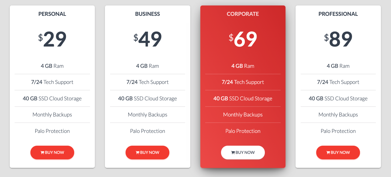 pricing table from Envato's Modern Bootstrap 4 website