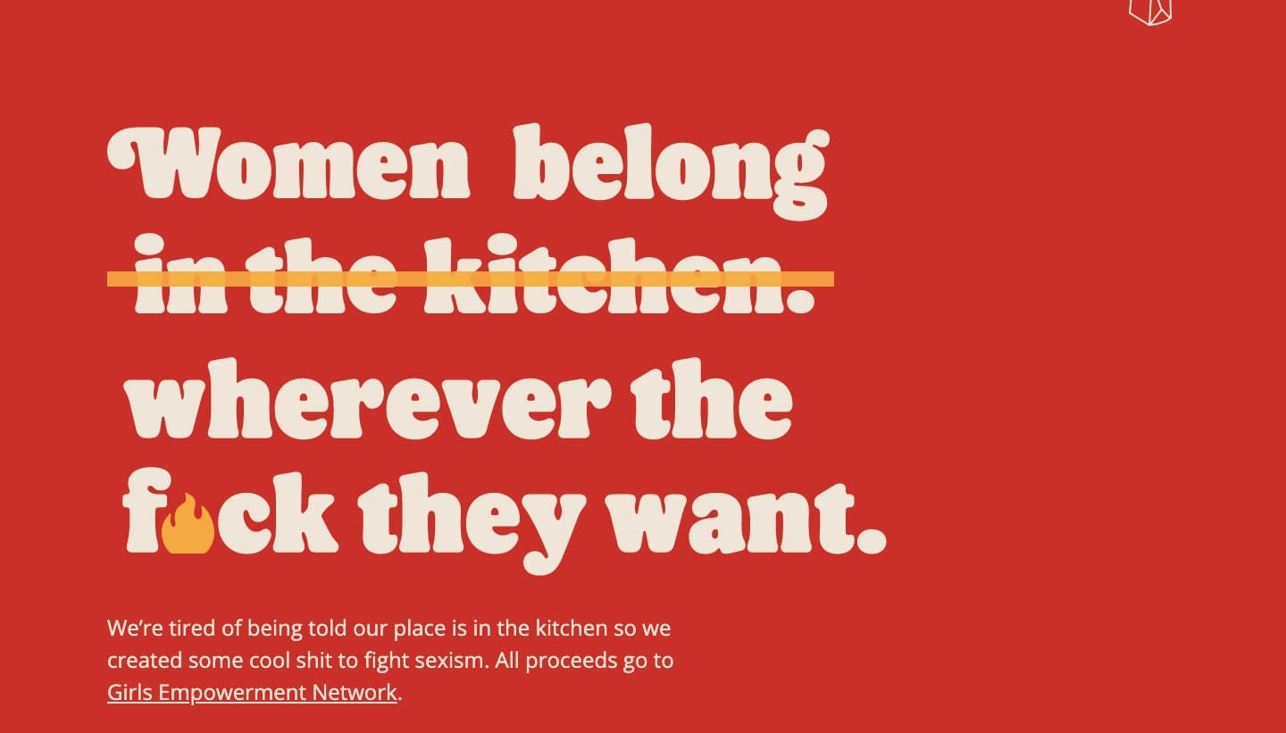 "Screenshot of the Burger Queen website showing the phrase ""Women belong wherever the f*ck they want"""