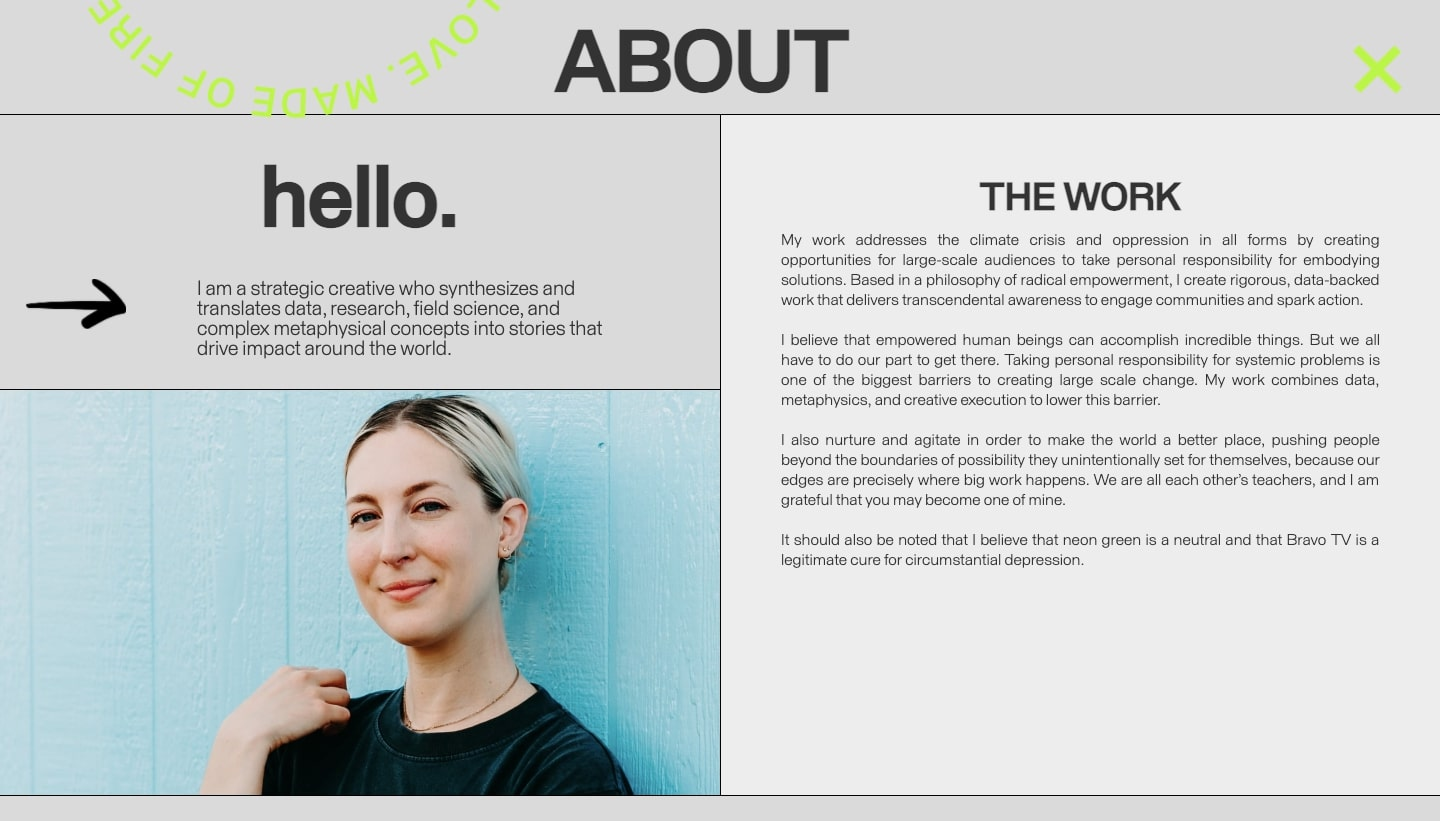 An image of Sarah Lupton's about page on her portfolio website.