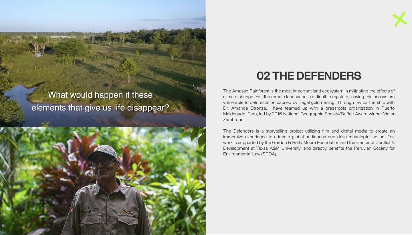 "A section on Sarah Lupton's website highlighting her documentary ""The Defenders"""