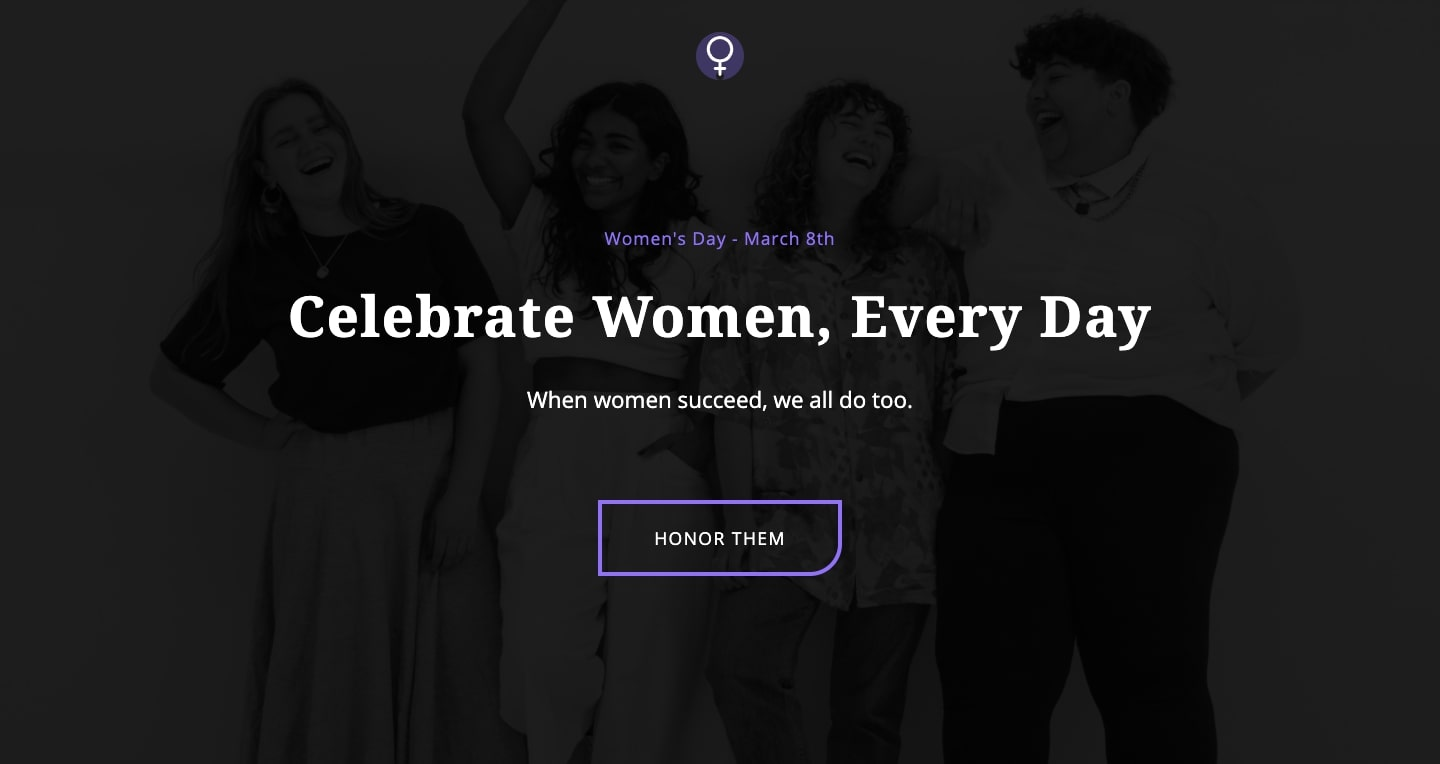 "An image of the Celebrate Women website. The main tagline reads: ""Celebrate Women, Every Day."""