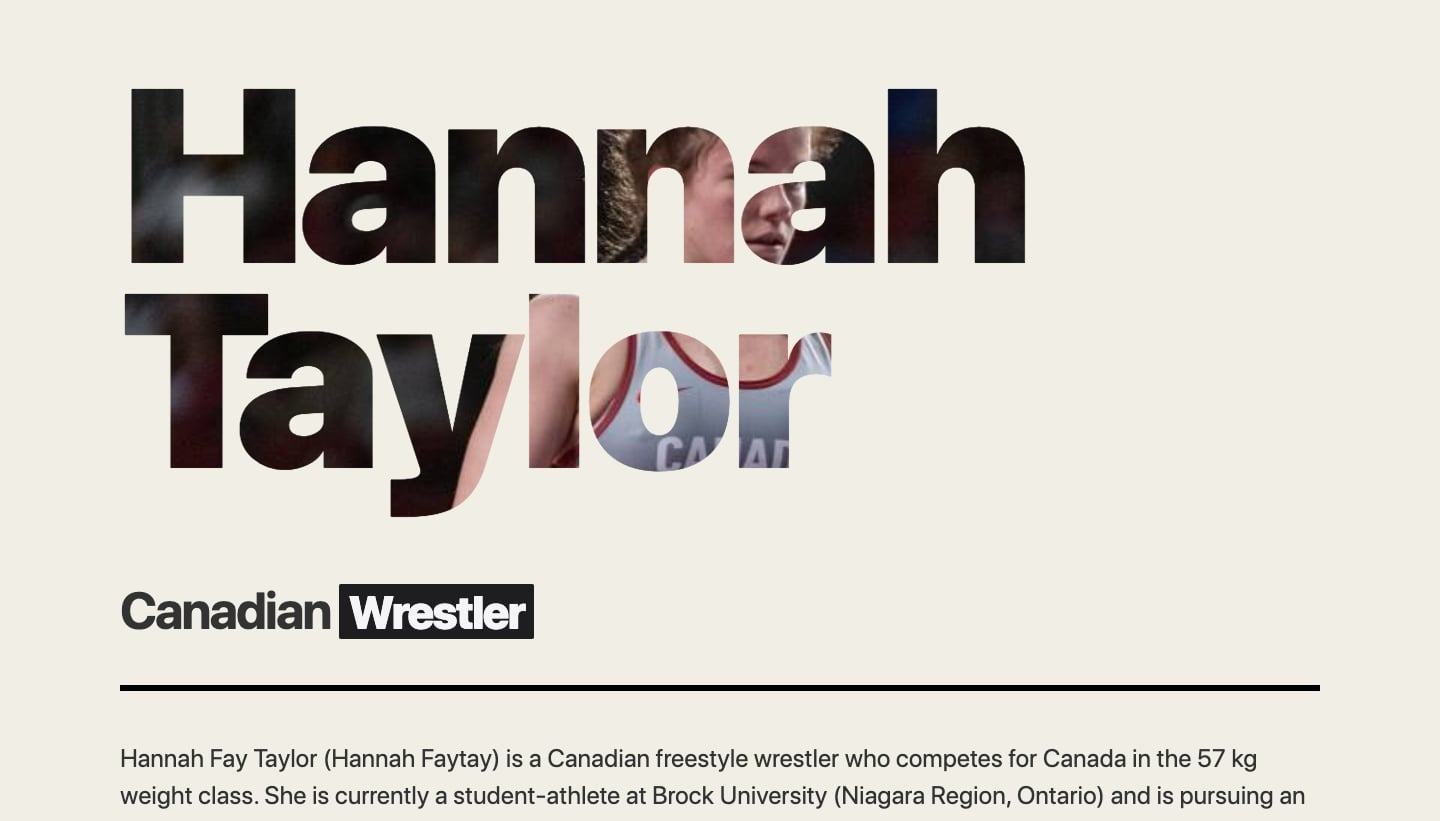 An image of Hannah Taylor's home page of her website.