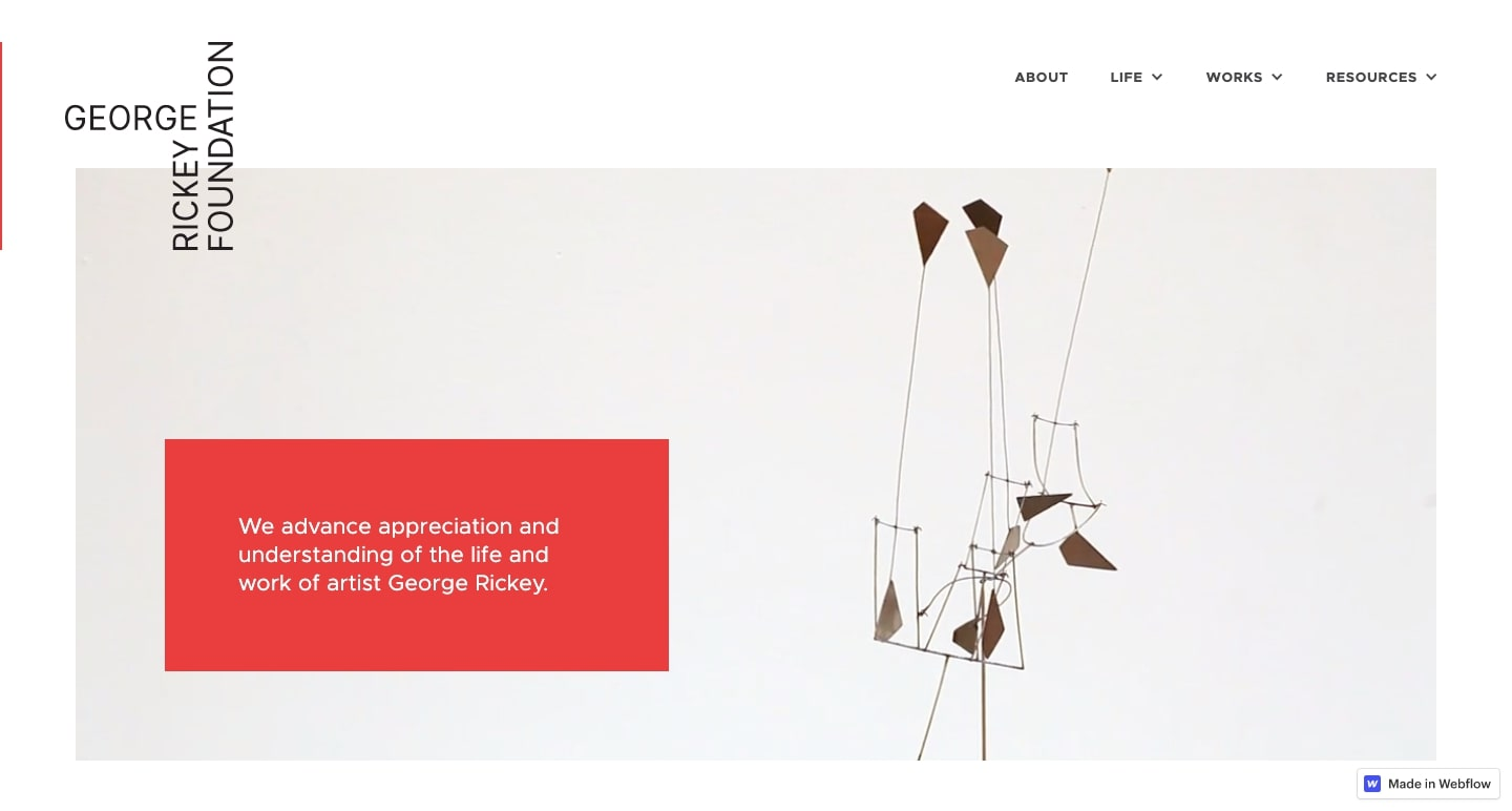 The homepage of the George Rickey Foundation.