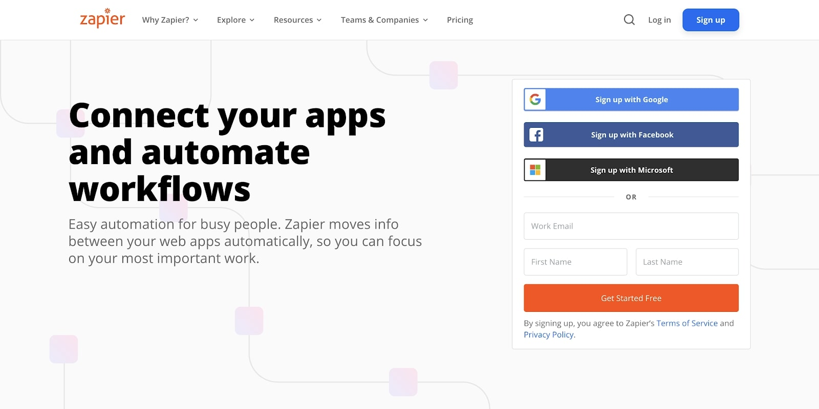 An image of the Zapier home page.