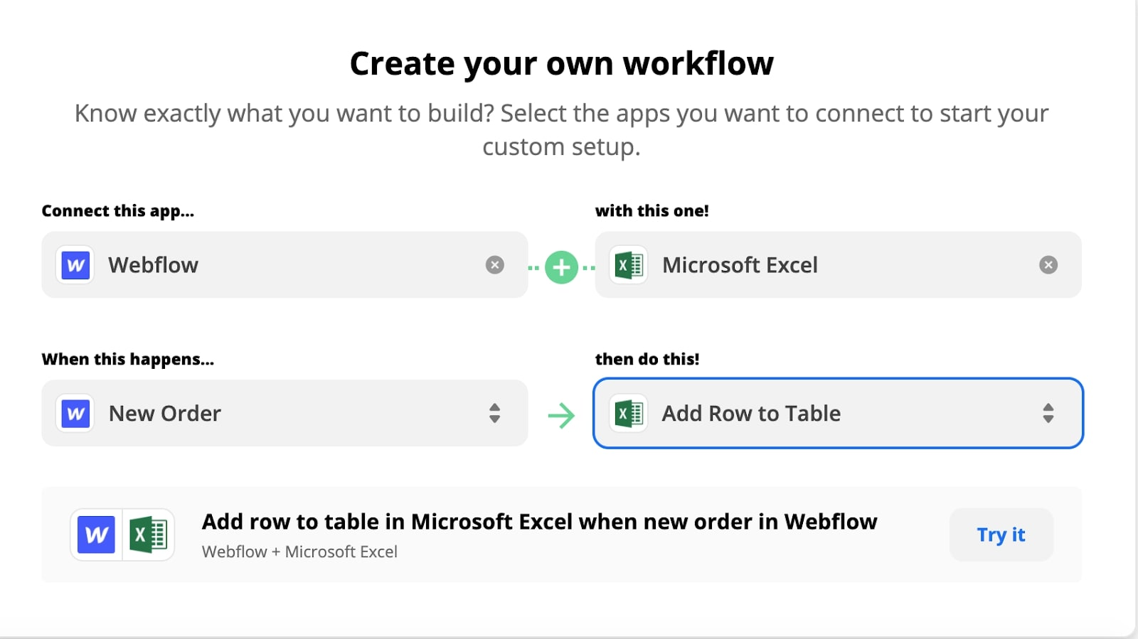 """The """"create your own workflow"""" page on Zapier."""
