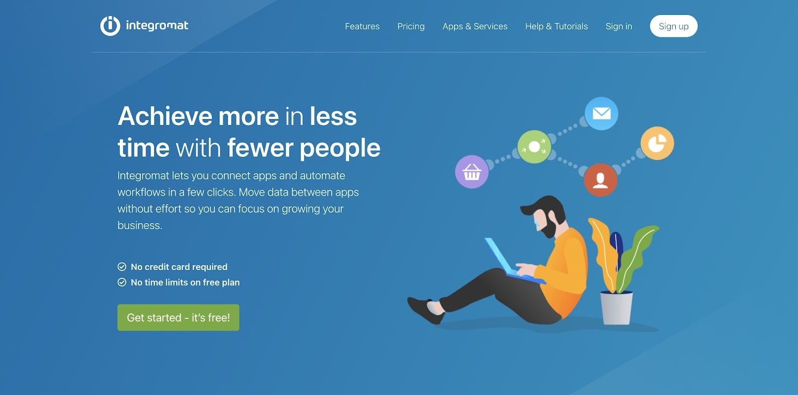An image of the Integromat home page.