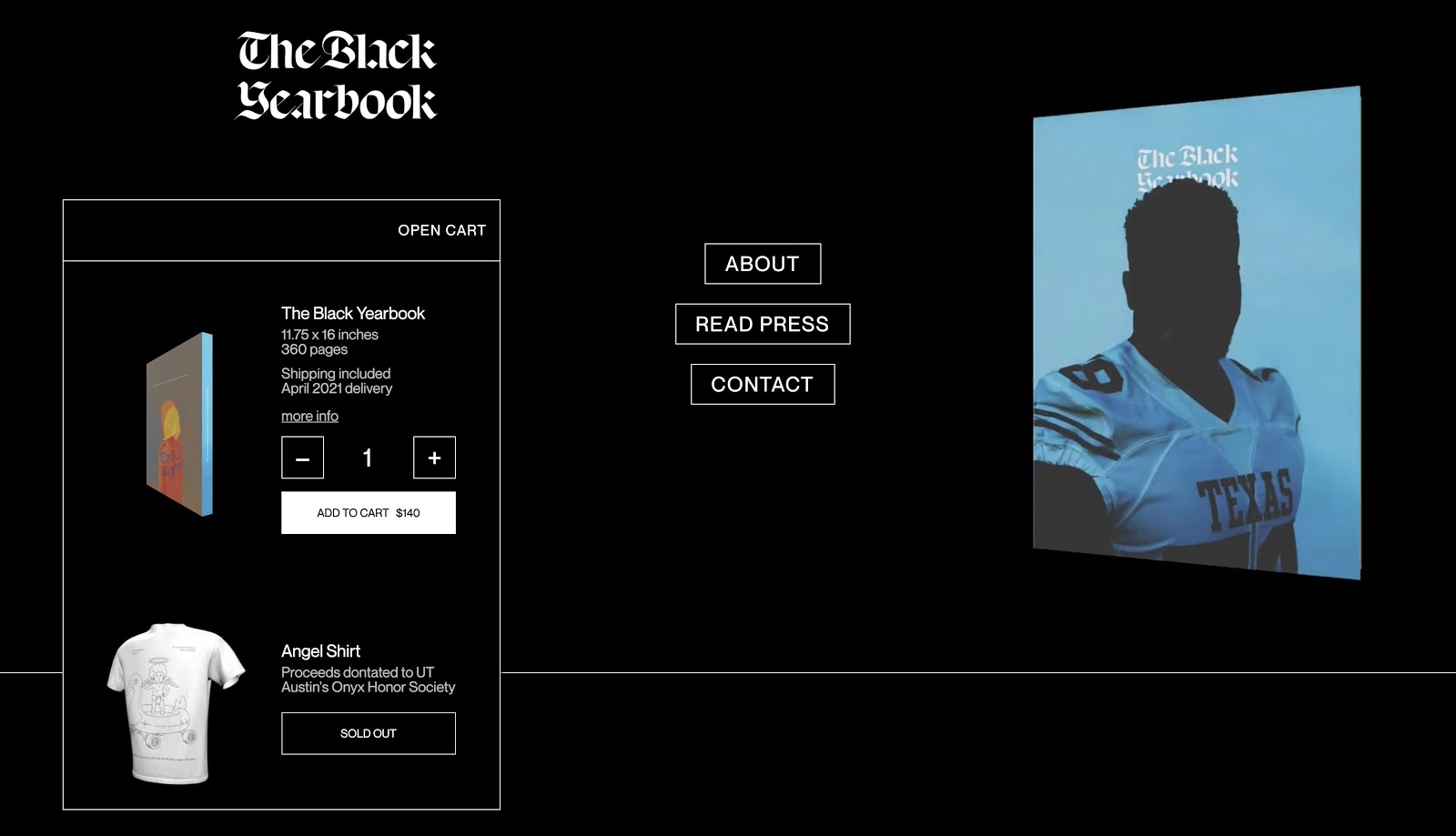 An image of the book website for The Black Yearbook.