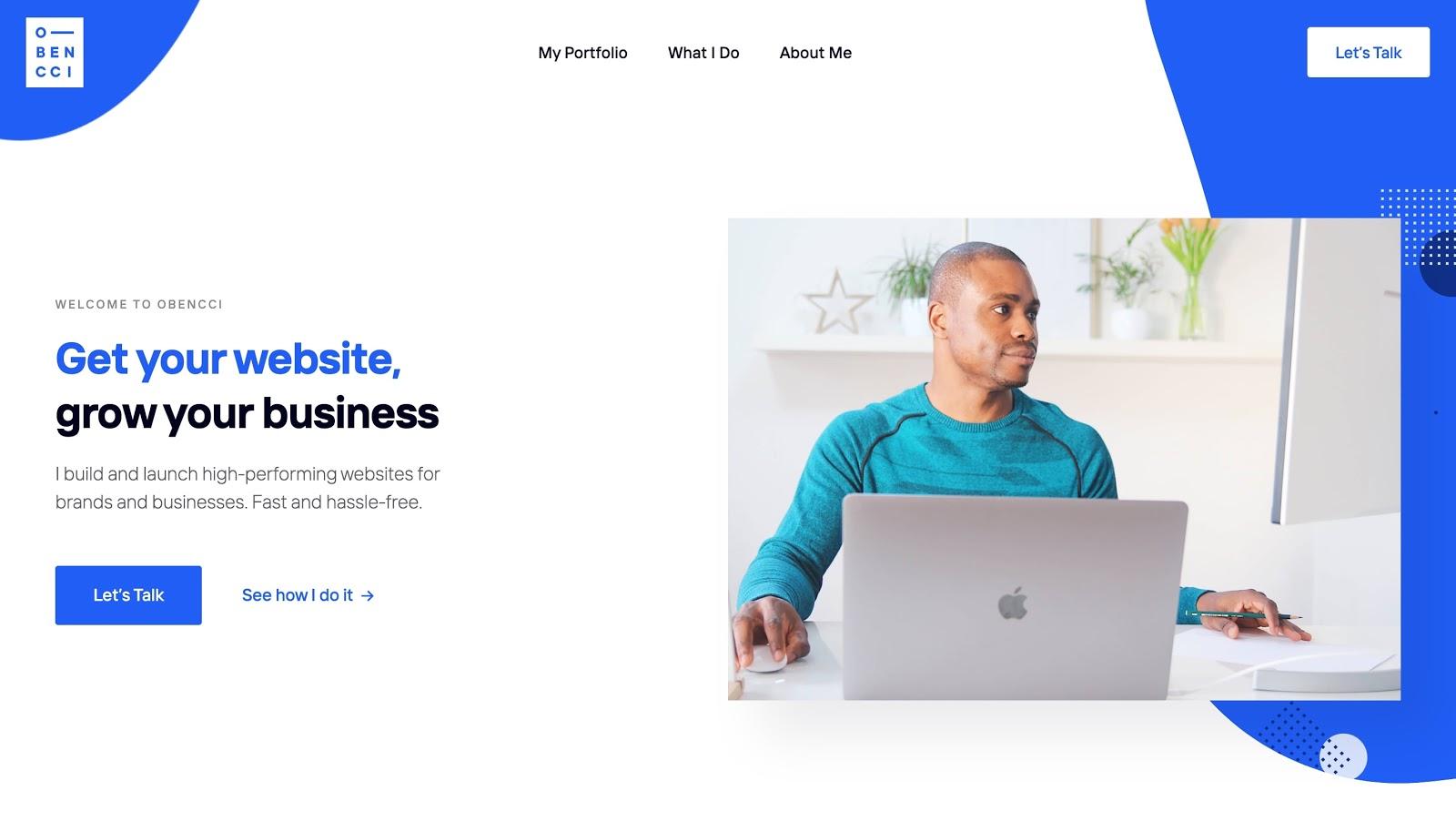 An image of Obencci's website.