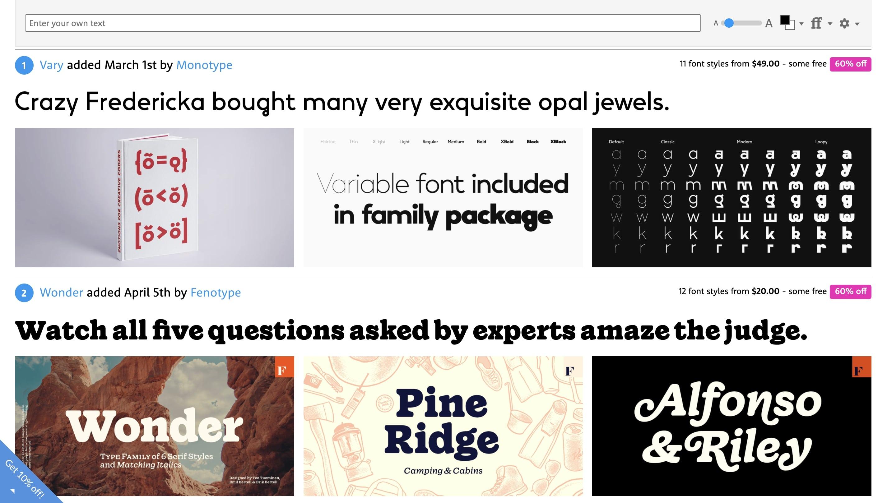 MyFonts free fonts