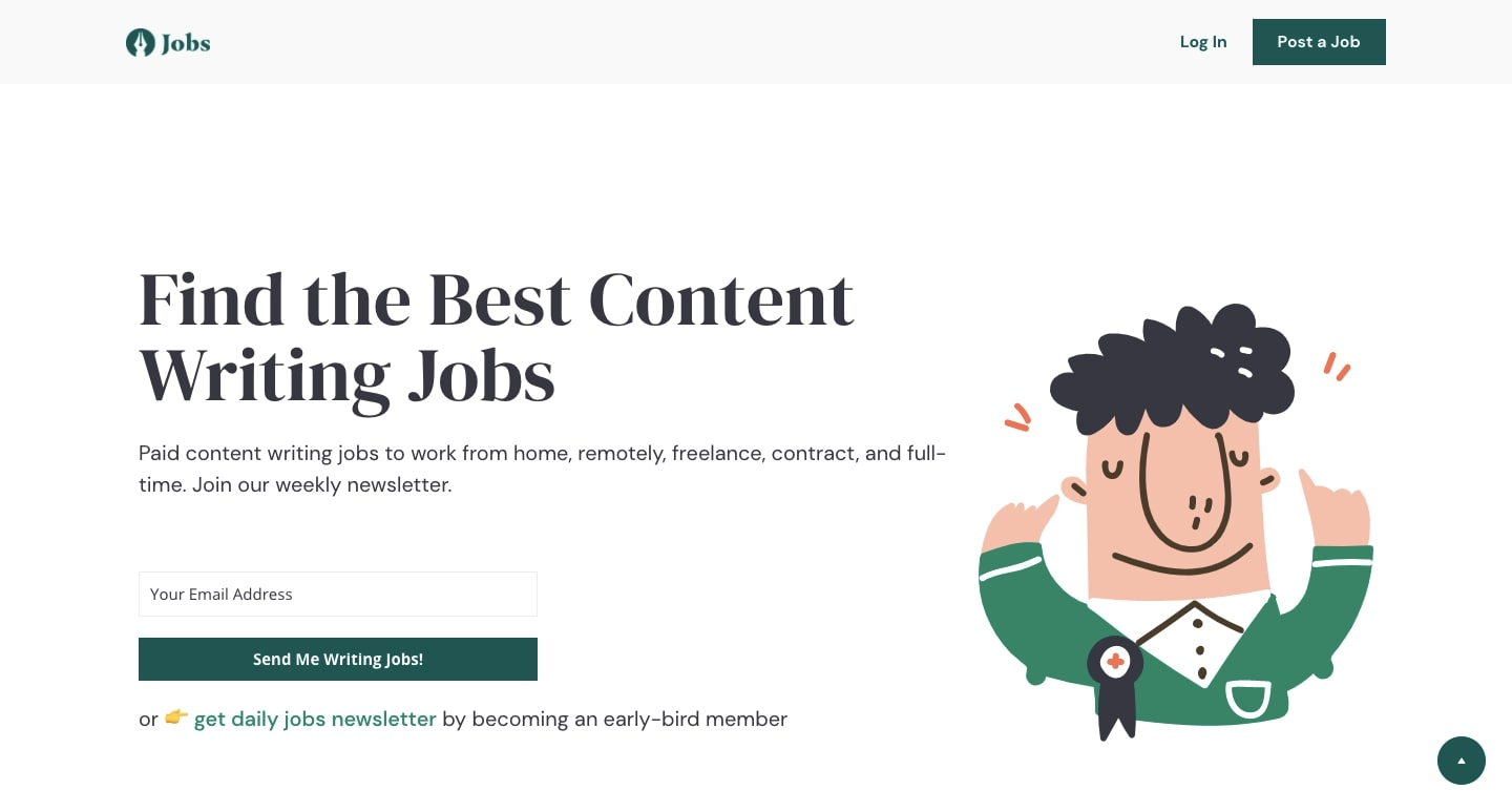 """An image of a job site home page. The page reads """"Finding the Best Content Writing Jobs."""""""