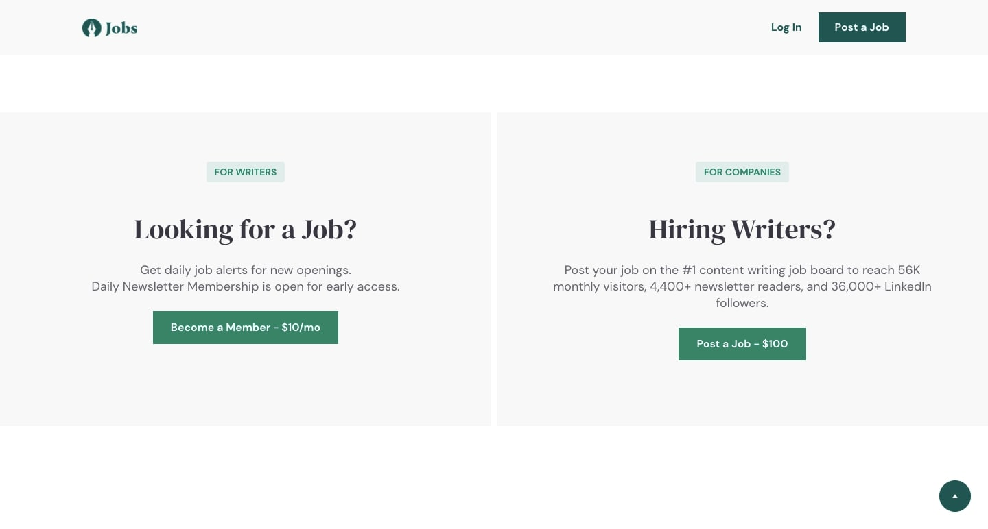 An image of the navigation on the content marketing jobs site.