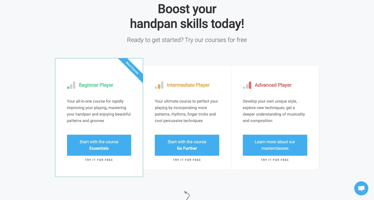 """An image of the """"getting started"""" page on the """"learning handpan"""" website."""