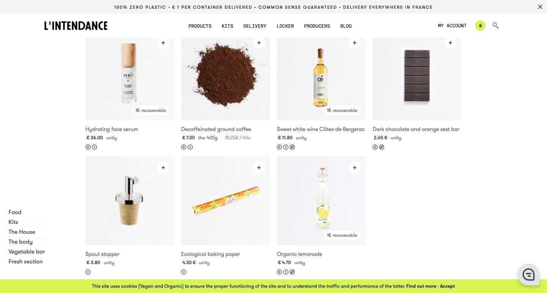An image of the L'intendance online shop.