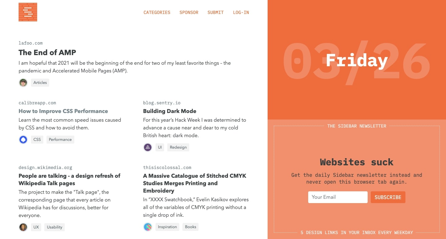 An image of the Sidebar website.